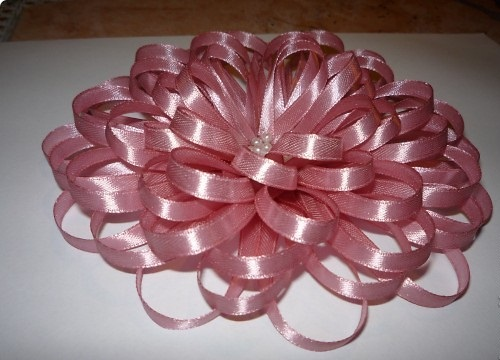 pink flower from a thin ribbon
