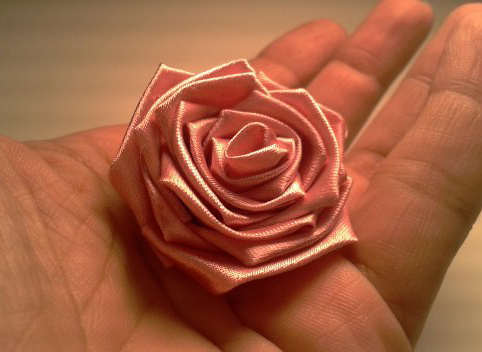 A Beautiful Handmade Rose Made From Ribbon Easy To Make