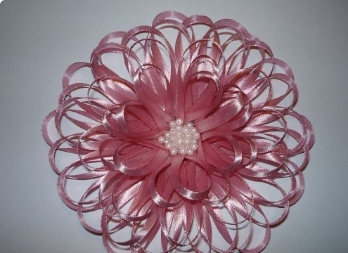pink fabric flower from a ribbon